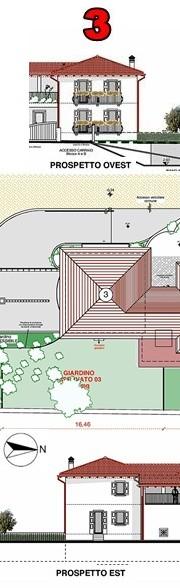 Prospetto e piante della villetta Nr. 3 in vendita a Riva del Garda